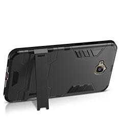 Coque Plastique Rigide Mat et Support pour Huawei Y6 Pro Noir