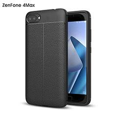 Coque Plastique Rigide Motif Cuir pour Asus Zenfone 4 Max ZC554KL Noir
