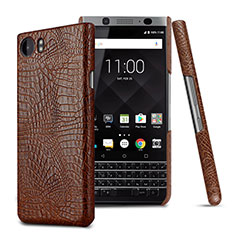 Coque Plastique Rigide Motif Cuir pour Blackberry KEYone Marron