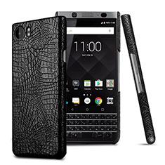 Coque Plastique Rigide Motif Cuir pour Blackberry KEYone Noir