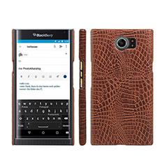 Coque Plastique Rigide Motif Cuir pour Blackberry Priv Marron