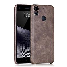 Coque Plastique Rigide Motif Cuir pour HTC Desire 10 Pro Marron