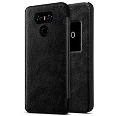 Coque Plastique Rigide Motif Cuir pour LG G6 Noir
