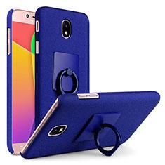 Coque Plastique Rigide Sables Mouvants avec Support Bague Anneau pour Samsung Galaxy J7 (2017) SM-J730F Bleu