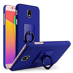 Coque Plastique Rigide Sables Mouvants avec Support Bague Anneau pour Samsung Galaxy J7 Pro Bleu