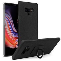 Coque Plastique Rigide Sables Mouvants avec Support Bague Anneau pour Samsung Galaxy Note 9 Noir