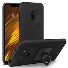 Coque Plastique Rigide Sables Mouvants avec Support Bague Anneau pour Xiaomi Pocophone F1 Noir