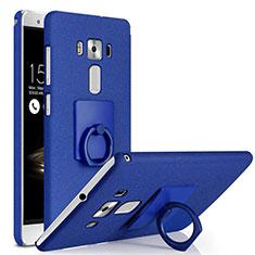 Coque Plastique Rigide Sables Mouvants et Support Bague Anneau pour Asus Zenfone 3 Deluxe ZS570KL ZS550ML Bleu