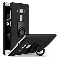 Coque Plastique Rigide Sables Mouvants et Support Bague Anneau pour Asus Zenfone 3 Deluxe ZS570KL ZS550ML Noir