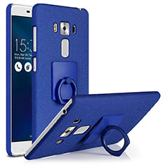 Coque Plastique Rigide Sables Mouvants et Support Bague Anneau pour Asus Zenfone 3 Laser Bleu