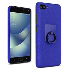 Coque Plastique Rigide Sables Mouvants et Support Bague Anneau pour Asus Zenfone 4 Max ZC554KL Bleu