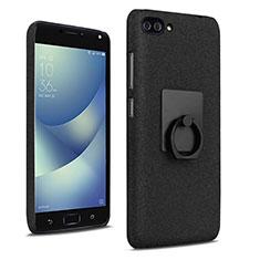Coque Plastique Rigide Sables Mouvants et Support Bague Anneau pour Asus Zenfone 4 Max ZC554KL Noir