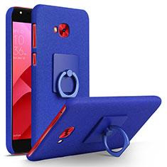 Coque Plastique Rigide Sables Mouvants et Support Bague Anneau pour Asus Zenfone 4 Selfie Pro Bleu