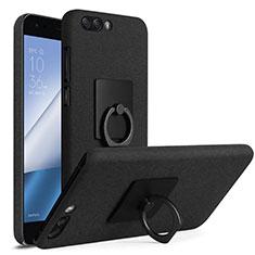 Coque Plastique Rigide Sables Mouvants et Support Bague Anneau pour Asus Zenfone 4 ZE554KL Noir