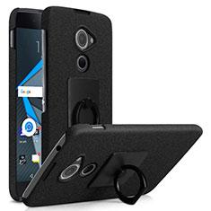 Coque Plastique Rigide Sables Mouvants et Support Bague Anneau pour Blackberry DTEK60 Noir