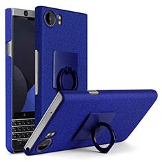 Coque Plastique Rigide Sables Mouvants et Support Bague Anneau pour Blackberry KEYone Bleu
