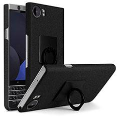 Coque Plastique Rigide Sables Mouvants et Support Bague Anneau pour Blackberry KEYone Noir