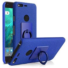 Coque Plastique Rigide Sables Mouvants et Support Bague Anneau pour Google Pixel Bleu