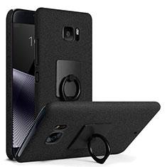Coque Plastique Rigide Sables Mouvants et Support Bague Anneau pour HTC U Ultra Noir