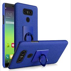 Coque Plastique Rigide Sables Mouvants et Support Bague Anneau pour LG G6 Bleu