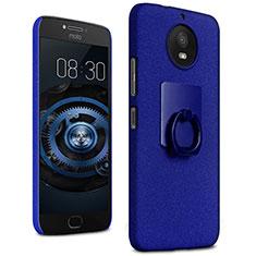 Coque Plastique Rigide Sables Mouvants et Support Bague Anneau pour Motorola Moto G5S Bleu