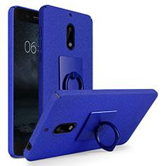 Coque Plastique Rigide Sables Mouvants et Support Bague Anneau pour Nokia 6 Bleu