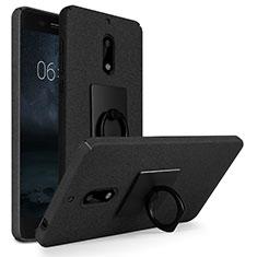 Coque Plastique Rigide Sables Mouvants et Support Bague Anneau pour Nokia 6 Noir