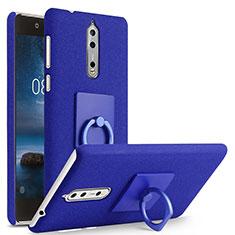 Coque Plastique Rigide Sables Mouvants et Support Bague Anneau pour Nokia 8 Bleu