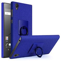 Coque Plastique Rigide Sables Mouvants et Support Bague Anneau pour Sony Xperia L1 Bleu