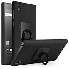 Coque Plastique Rigide Sables Mouvants et Support Bague Anneau pour Sony Xperia L1 Noir