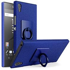 Coque Plastique Rigide Sables Mouvants et Support Bague Anneau pour Sony Xperia XA1 Bleu