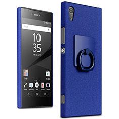 Coque Plastique Rigide Sables Mouvants et Support Bague Anneau pour Sony Xperia XA1 Ultra Bleu