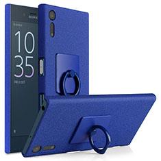 Coque Plastique Rigide Sables Mouvants et Support Bague Anneau pour Sony Xperia XZ Bleu