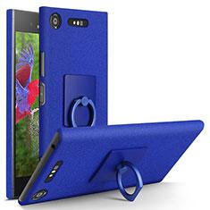 Coque Plastique Rigide Sables Mouvants et Support Bague Anneau pour Sony Xperia XZ1 Bleu