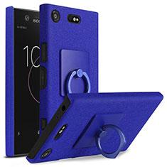 Coque Plastique Rigide Sables Mouvants et Support Bague Anneau pour Sony Xperia XZ1 Compact Bleu