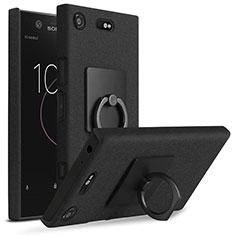 Coque Plastique Rigide Sables Mouvants et Support Bague Anneau pour Sony Xperia XZ1 Compact Noir