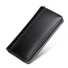 Coque Pochette Cuir Litchi Motif Universel H36 pour Huawei Enjoy 8e Lite Noir