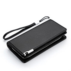 Coque Pochette Cuir Litchi Motif Universel H37 pour Huawei Enjoy 8e Lite Noir