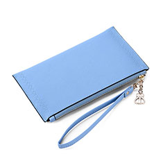 Coque Pochette Cuir Universel K15 pour Wiko Highway Star 4g Bleu