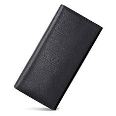 Coque Pochette Cuir Universel Litchi Motif pour Sony Xperia 1 Noir