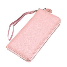 Coque Pochette Cuir Universel Litchi Motif pour Huawei Honor Magic 2 Rose