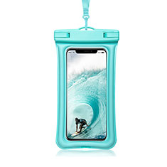 Coque Pochette Etanche Waterproof Universel W12 pour Apple iPhone 12 Cyan