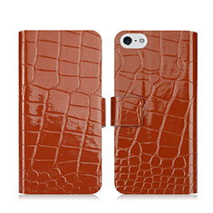 Coque Portefeuille Cuir Crocodile pour Apple iPhone 5S Marron