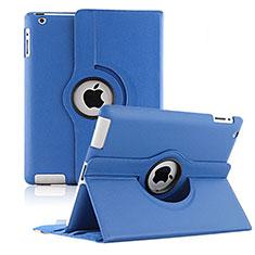 Coque Portefeuille Cuir Rotatif pour Apple iPad 3 Bleu