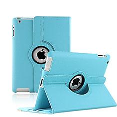 Coque Portefeuille Cuir Rotatif pour Apple iPad 3 Bleu Ciel