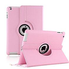 Coque Portefeuille Cuir Rotatif pour Apple iPad 3 Rose