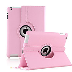Coque Portefeuille Cuir Rotatif pour Apple iPad 4 Rose