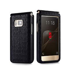 Coque Portefeuille Flip Cuir Crocodile C01 pour Samsung W(2016) Noir