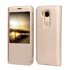 Coque Portefeuille Flip Cuir pour Huawei G8 Or
