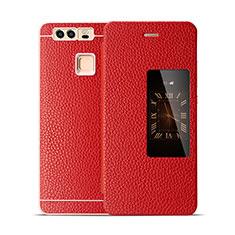 Coque Portefeuille Flip Cuir pour Huawei P9 Rouge